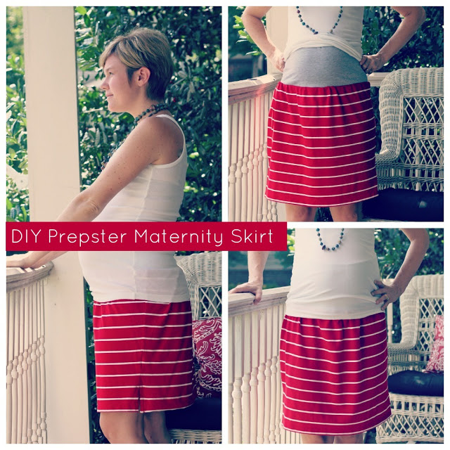 DIY Prepster Maternity Skirt Tutorial polo shirt recycled upcycled sewing