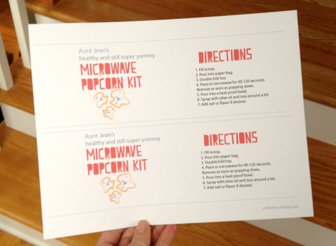 Aunt Jean's Microwave Popcorn Kit: Save Your Loved Ones from Evil Popcorn (Free Printable)