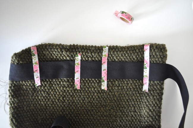knitted tote with twill tape handles by elsie marley