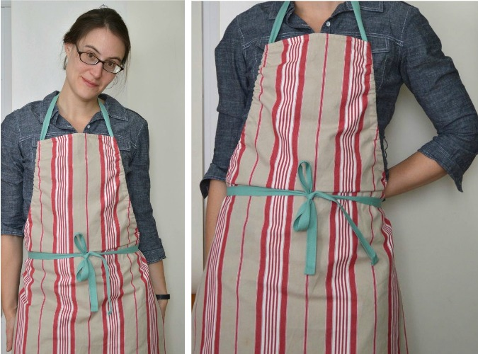 Twill Tape Apron with A Happy Stitch