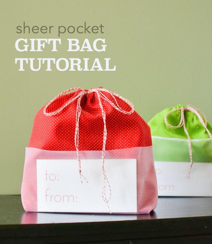 Sheer Pocket Drawstring Gift Bag crafterhours tutorial