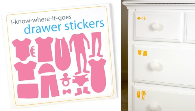 baby I-know-where-it-goes drawer stickers - great baby shower gift!
