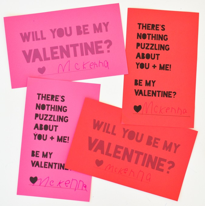 Free printable! Puzzle valentines