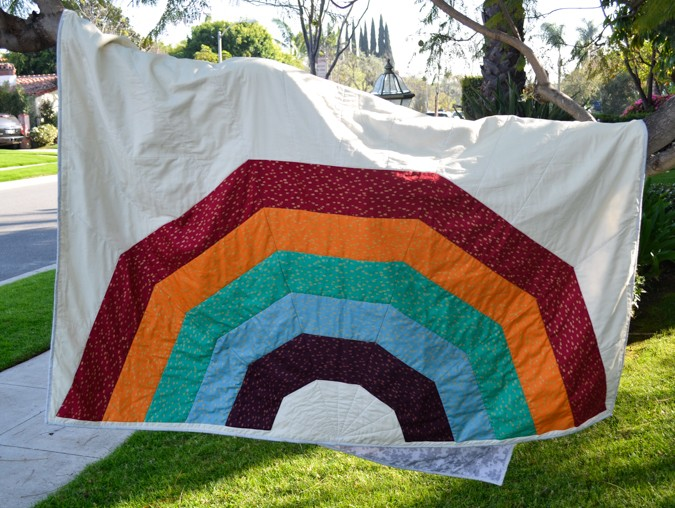 Giant Rainbow Quilt Pattern testers-10