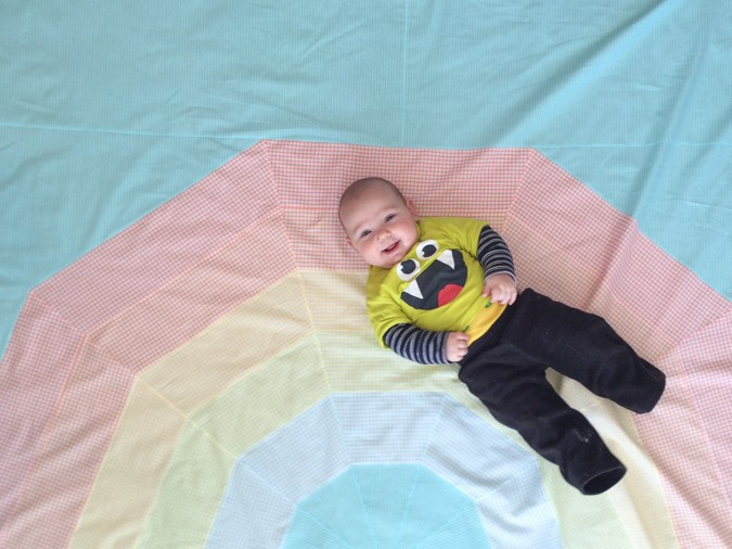Giant Rainbow Quilt Pattern testers-5