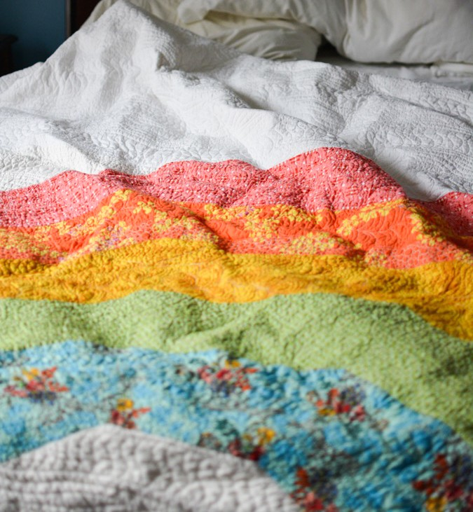Giant GIANT Rainbow Quilt by crafterhours-12