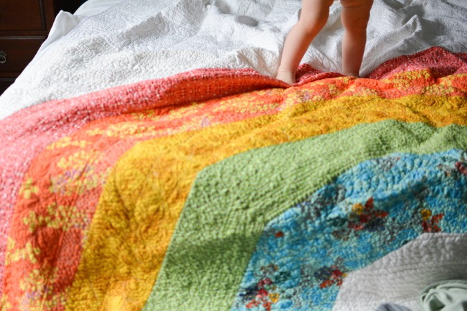 Giant GIANT Rainbow Quilt by crafterhours-22