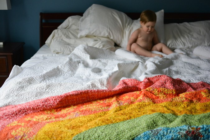 Giant GIANT Rainbow Quilt by crafterhours-23