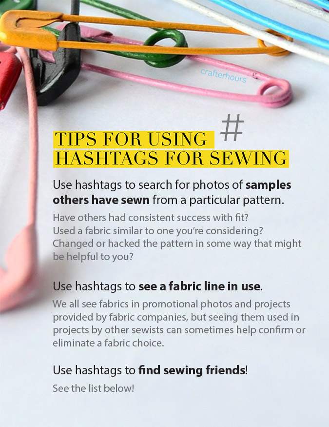 Sewing hashtag tips - save yourself time and money by using hashtags to research before you buy!