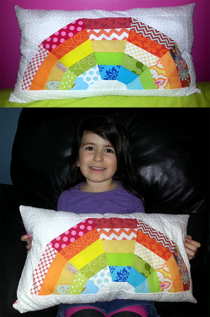 mini giant rainbow quilt pillow by kim