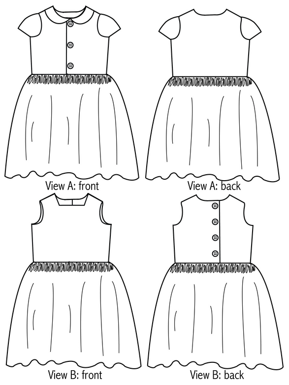 View A and View B of the Flip Flop Dress by Whipstitch