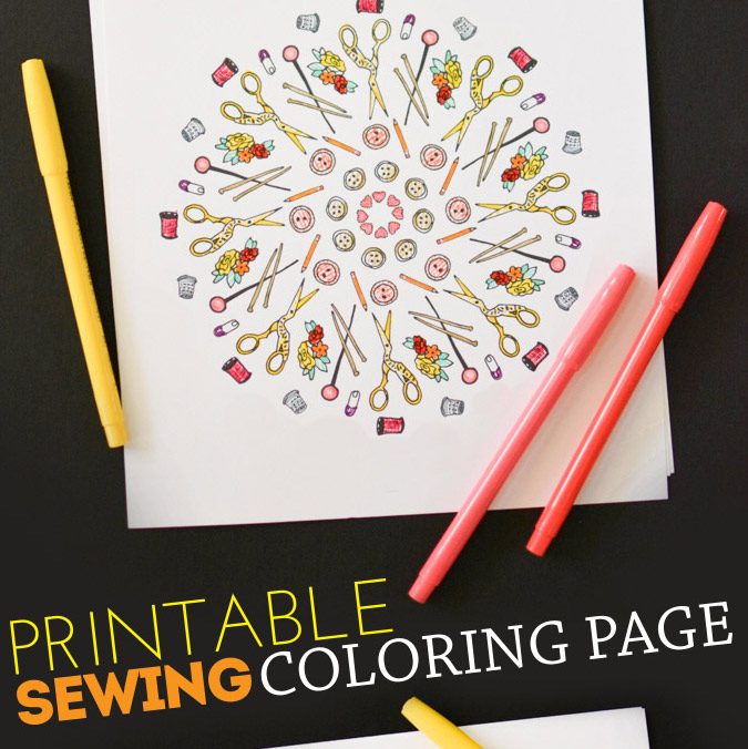 Free Printable Sewing Coloring Page
