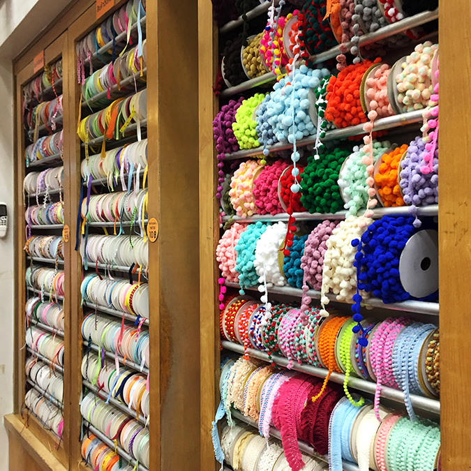 Bangkok Chinatown fabric shopping Sampeng Lane trims pom pom