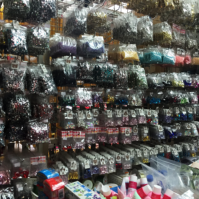 Bangkok fabric shopping embellishments in Chinatown