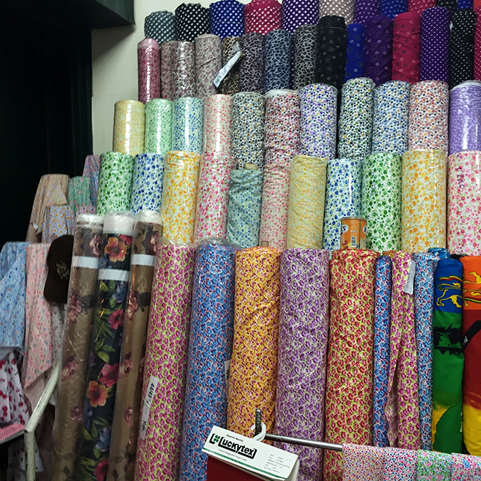 Bangkok fabric shopping in Chinatown on Sampeng Lane floral prints