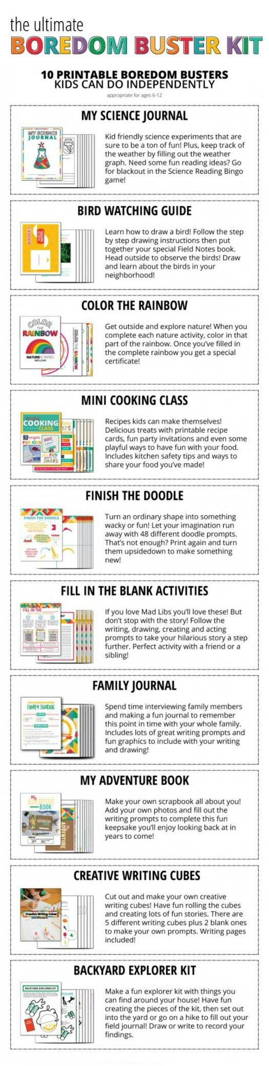 Boredom Busters kit contains *10* complete printable projects and BONUSES - moms save so much time!