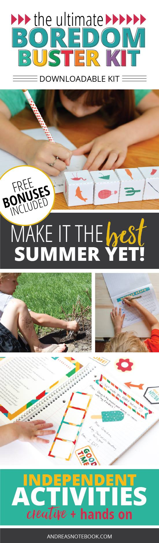 Download and print EVERYTHING you need to keep kids having fun creatively this summer!